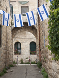Flags Decorate for Declaration of Independence Holiday Called Yom Ha'Atzmaut  Jerusalem  Israel