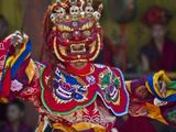 Mask Dance Performance at Tshechu Festival  Punakha Dzong  Punakha  Bhutan