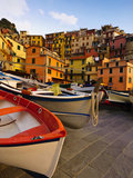 Fishing Boats at Rest in Manarola in Cinque Terre  Tuscany  Italy