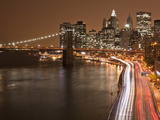 Brooklyn Bridge and Parkway  East River with Lower Manhattan Skyline  Brooklyn  New York  Usa
