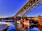 Reflection of the Aurora Bridge in Lake Union on a Cold Clear Seattle Morning  Washington  Usa