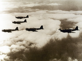 World War Ii (1939-1945)  a Squad of British Aircraft Model Spitfire Flying  (October 1939)