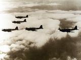 World War Ii (1939-1945)  a Squad of British Aircraft Model Spitfire Flying  (October 1939)