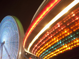 Boardwalk Amusement Park Lights at Night at Funtown Pier  Seaside Park  New Jersey  Usa