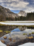Half Dome Reflected in Snow Melt  Yosemite National Park  California  Usa