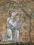 Byzantine Art  Noah Drinking Wine Mosaic  Baptistery of St Mark's Basilica  Venice  Italy