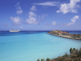 Coastal View with Cruise Ship  Great Bay Beach  Phillipsburg  St Maarten  Caribbean