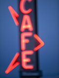 Neon Cafe Sign at Dusk  Arco  Idaho  Usa