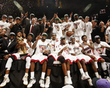 Miami  FL - June 21:  The Miami Heat pose for a team photo after defeating the Oklahoma City Thunde