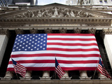 American Flag  New York Stock Exchange Building  Lower Manhattan  New York City  New York  Usa