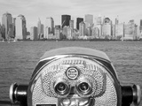 Coin Operated Binoculars Pointed at Manhattan Skyline  Hudson River  Jersey City  New Jersey  Usa
