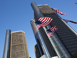 American Flags  General Motors Corporate Headquarters  Renaissance Center  Detroit  Michigan  Usa