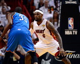 Miami  FL - June 21:  Miami Heat and Oklahoma City Thunder Game Five  LeBron James and Kevin Durant