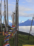 Mount Jumolhari at 7300M Seen Through Prayer Flags from Chelela Pass  Bhutan