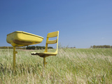 Abandoned School Desk and Chairs in Farmers Field on Spring Morning  Hillman  Michigan  Usa