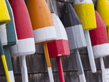 Colorful Lobster Buoys Hang from Harbor Deck in Bernard  Maine  Usa
