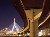 Concrete Highway Overpass and Leonard P Zakim Bunker Hill Bridge  Boston  Massachusetts  Usa