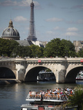 Tour Boat in River Seine with Pont Neuf and Eiffel Tower in the Background  Paris  France