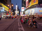 Tourists Sit in Lawn Chairs  Times Square  Manhattan  New York City  New York  Usa