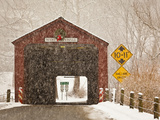 Snow Falling on the West Cornwall Covered Bridge over the Housatonic River  Connecticut  Usa