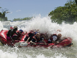 Whitewater Rafters Paddles over Bujagali Falls on Nile River  Lake Victoria  Jinja  Uganda
