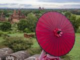 Girl Overlooking Temples of Bagan  Myanmar