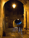 The Night View of Cobbled Stone Path and Entrance of Medieval Citadel  Sighisoara  Romania