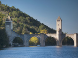 Lot River  Medieval Bridge  Pont Valentre  Cahors  Lot Department  Midi-Pyrenees Region  France