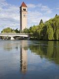 Clock Tower by the Spokane River  Riverfront Park  Spokane  Washington  Usa
