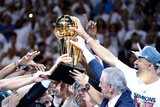 Miami  FL - June 21:  The Miami Heat celebrate with the Larry O'Brien Finals Championship trophy