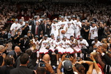 Miami  FL - June 21:  The Miami Heat team celebrates after defeating the Oklahoma City Thunder