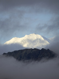 Alaska Range in Snow  with Low Cumulus Clouds and Blue Sky
