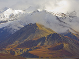 Snowy Peaks of the Alaska Range and Colorful Tundra in Fall