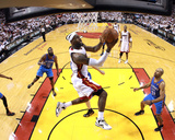 Miami  FL - June 21:  Miami Heat and Oklahoma City Thunder Game Five  LeBron James and Derek Fisher