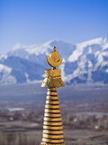 India  Ladakh  Thiksey  the Golden Finial of a Chorten at Thiksey Monastery