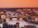 Italy  Florence  Tuscany  Western Europe  'Ponte Vecchio' and Other Bridges on the Arno River and S