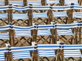 Rows of Traditional Blue and White Deckchairs  Eastbourne  Sussex  Uk