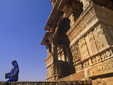 India  Rajasthan  Chittorgarh  a Sari-Clad Woman Leaves a Temple in Chittorgarh Fort