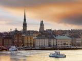 Sweden  Stockholm  Riddarfjarden  Gamla Stan  Passenger Ferries in Bay at Dusk