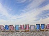 Deckchairs on Pebble Beach  Sidmouth  Devon  Uk