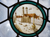Germany  Bavaria  Munich  Detail of Stained Glass Window Depicting Fraenkirche from Marienplatz  in