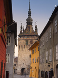 Clock Tower and Medieval Old Town  Sighisoara  Transylvania  Romania