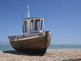 England  Kent  Deal  Old Wooden Fishing Boat on the Shingle Beach at Deal