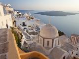 Church and Fira Town at Sunset  Fira  Santorini (Thira)  Cyclades  Greece