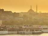 Mosque and Ferries on the Waterfront of the Golden Horn  Istanbul  Turkey