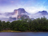Venezuela  Guayana  Canaima National Park  Mist Swirls Round Angel Falls at Sunrise