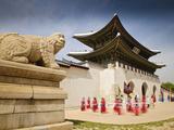 Korea  Seoul  Gyeongbokgung Palace  Haetae  a Stone Mythical Creature Infront of Gwanghwamun - the