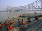 India  West Bengal  Kolkata (Aka Calcutta)  Morning Bathers Complete their Ablutions by the Hooghly