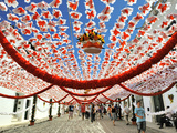 Streets Decorated with Paper Flowers People Festivities (Festas Do Povo) Campo Maior  Portugal