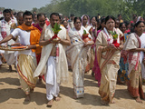 A Hindu Religious Procession to Celebrate the Opening of a New Shiva Temple at Raha  Nagoan  Water